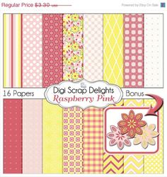 40% Off SALE Digital Raspberry Pink & Yellow Digital Papers w Polka Dots, Chevron  for Digital Scrapbooking, Crafts, Instant Download,