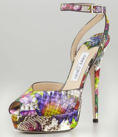 Jimmy Choo: Zapato de Plataforma Lola Pitón Floral