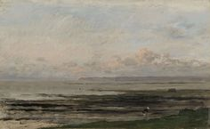 Daubigny painted this beautiful seascape in Villerville-sur-Mer in Normandy. On an otherwise empty beach, a lone shell seeker walks along, with a basket on her back. Hague School painters greatly admired Daubigny. His broad brushstrokes and subtle colour nuances were ideally suited to depicting the Dutch landscape. - Beach at Ebb Tide, Charles Fran�ois Daubigny, c. 1850 - c. 1878