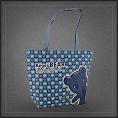 Sac à main tendance Angel Bear pour femme. Un très joli sac shopping à l'effigie d'un petit ourson tout bleu vraiment mignon.