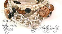 Tanya Lochridge Jewelry Brown & Black Mother-of-Pearl Bracelet stacked with sterling silver cobras & onyx. #josephesposito #tanyalochridgejewelry