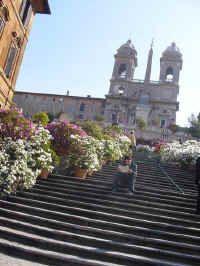 The Spanish Steps (Italian: Scalinata di Piazza di Spagna) is a set of stairs in Rome, ramping a steep slope between the Piazza di Spagna at the base and Piazza Trinità dei Monti, with the church Trinità dei Monti, above.