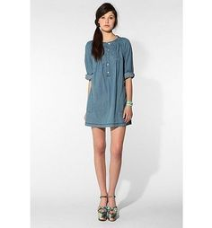 A.P.C. Madras Denim Tunic, & with nice pumps & snazzy earings