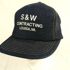 S and W Contracting Louisa Virginia Denim Trucker Hat Baseball Cap Mesh Snapback #DesignerAward #TruckerHat