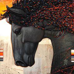 Craig Kosak Paintings - Onyx Profile    #equine #art
