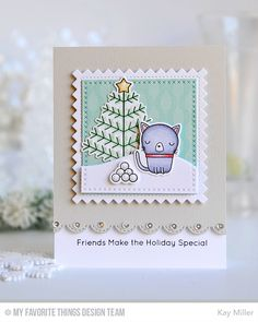 Handmade card from Kay Miller featuring Stitched Pinking Edge Square STAX