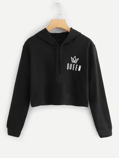 Shop Letter Print Hooded Sweatshirt at ROMWE, discover more fashion styles online. Cute Comfy Outfits, Cute Teen Outfits, Teen Fashion Outfits, Teenager Outfits, Outfits For Teens, Trendy Outfits, Damen Sweatshirts, Cute Sweatshirts, Hooded Sweatshirts