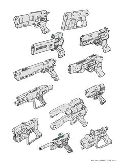 ArtStation - Sketch for fun, Dipo Muh. Useful for Clean Nuke weapons and E-type for ITW Robot Concept Art, Weapon Concept Art, Robot Art, Drawing Reference Poses, Design Reference, Drawing Tips, Prop Design, Robot Design, Character Design Inspiration