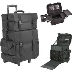 BLACK NYLON TROLLEY MAKEUP CASE - T5273
