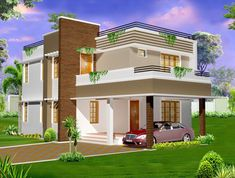 Storey House Plans & designs in Kerala - Kerala 2 storey contemporary low budget home plan Glass House Design, Bamboo House Design, House Front Design, 2 Storey House Design, Bungalow House Design, House Extension Cost, Kerala, House Gutters, House Columns