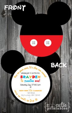 DIY Mickey Invitations by ZooCutiePrintables on Etsy, $12.00