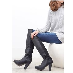 "Steve Madden over-the-knee ""rannsome"" black boot Gorgeous boots that will be great with jeans and a chunky knit sweater or that perfect short party dress for a girl night! Leather. 3.75"" heel. 19"" shaft height. Brand new, without tags or box. Perfect condition. Open to offers. No trades! Steve Madden Shoes Over the Knee Boots"
