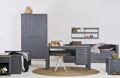 Grey furniture for kid's room. Home Office, Office Desk, Grey Furniture, Kids Furniture, 2 Door Wardrobe, Metal Drawers, Wood Beds, Style Vintage, Wooden Handles