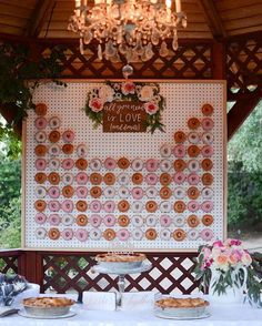 Every girl adores donuts. Can you imagine adding donuts into your wedding? Donuts are great wedding walls not only because they are delicious and good-looking, we also love it for its budget-saving and creative visual effect. Diy Donut, Donut Bar, Wedding Wall, Diy Wedding, Dream Wedding, Wedding Reception, Wedding Ideas, Wedding Donuts, Wedding Desserts