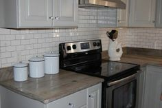 2x4 white subway tile with gray grout