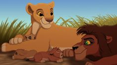 Kiara and Kovu and their lion cub Lion King Kovu, Kiara Lion King, Kiara And Kovu, Disney Dream, Disney Love, Disney Art, Walt Disney, Le Roi Lion 2, Lion King Pictures
