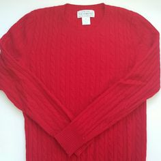 XS Sutton Studio cashmere sweater Red cable knit cashmere sweater, minor pilling on sleeeves, photographed to show. Sutton Studio  Sweaters Crew & Scoop Necks