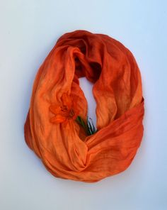 Long Orange Scarf  Linen Scarf  Scarf in Persimmon  by lyralyra