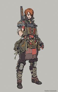 ArtStation - Милица / Milica , Vadim Kalabukh Female Character Design, Character Design Inspiration, Character Concept, Character Art, Concept Art, Apocalypse Character, Apocalypse Art, Post Apocalyptic Art, Arte Nerd