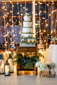 Gorgeous Four Tier Buttercream Wedding Cake Decorated with Greens