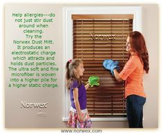 Norwex #Dust Mitt  Help #allergies---do not just stir dust around when cleaning. Wipe with a moist cloth or high quality microfiber cloth, like the Norwex Dust Mitt, to pick up the dust from hard surfaces.  Dust hiding spots: books, under furniture, glass and frames of pictures, and heat/air vents.  With its thick, terrycloth-like texture and unique mitt design, the Norwex Dusting Mitt attracts and holds dust and allergens and is ideal for quick, chemical free, easy dusting.  www.norwex.com