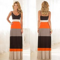 """Women's """"Summer Showtime"""" Long Relaxed Fit Striped Dress - 2 Colors"""