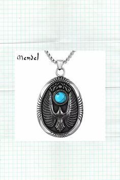 Hawk Eagle Necklace Pendant Turquoise Stainless Steel Chain Silver