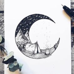 Artist Draws Millions of Tiny Dots to Calmly Ease Her Anxiety And The Results Are Amazing – Swedish illustrator Josefine Svärd creates fantastical stippling art… Doodle Art, Stippling Art, Pen Art, Easy Drawings, Ink Drawings, Dotted Drawings, Detailed Drawings, Drawing Sketches, Moon Sketches