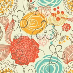 Retro floral seamless pattern | Stock Vector © Danussa #5382097