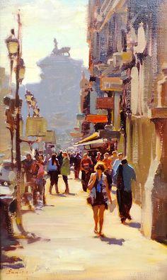 "Kim English: ''A Street in Rome"" 20 x 12'' original framed oil"