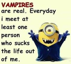 Vampires are real.  Everyday I meet at least one person who sucks the life out of me. - minion Cute Quotes, Funny Quotes, Funny Memes, Jokes, Haha Funny, Hilarious, Minion Words, Minions Working, Despicable Me