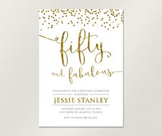 Birthday Invitation, Fifty and Fabulous Invitation, Gold Confetti Invitation for Woman, Printable Birthday Invitation 70th Birthday Parties, Gold Invitations, Printable Birthday Invitations, Birthday Celebrations, Invitation Design, Gold Confetti, Color Change, Rsvp, Cards