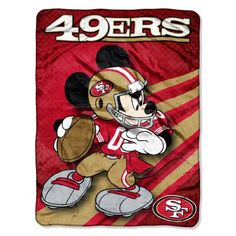 NFL San Francisco 49ers Mickey Mouse Ultra Plush Micro Super Soft Raschel Throw Blanket Northwest.