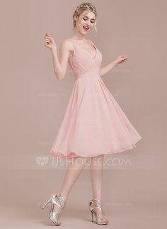 4406c74828 A-Line Princess V-neck Knee-Length Chiffon Bridesmaid Dress With Ruffle  (007123079)
