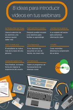 Hola: Una infografía con8 ideas para introducir vídeos en tus Webinars. Vía Un saludo