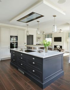 New Kitchen Open Plan Living Garage Ideas Small Open Plan Kitchens, Open Plan Kitchen Dining Living, Open Plan Kitchen Diner, Kitchen Design Open, Open Plan Living, Living Room Kitchen, New Kitchen, Modern Shaker Kitchen, Home Interior