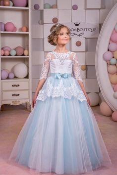 White and Blue Lace Flower Girl Dress by KingdomBoutiqueUA