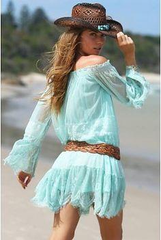 Miss June Dress Chantilly - Aqua
