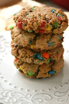 Brown butter oatmeal chocolate chip cookies. Recipe calls for M's but chips sub in just perfect.