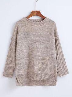 ROMWE - ROMWE Ribbed Trim Drop Shoulder Seam High Low Sweater - AdoreWe.com