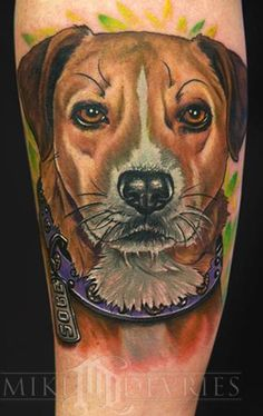 Mike DeVries - Dog Portrait -Another great dog portrait tattoo. Great inspiration for my tattoo of my dog Henry. Dog Tattoos, Animal Tattoos, Forearm Tattoos, Tatoos, Dog Portrait Tattoo, Dog Portraits, Tattoo You, Mans Best Friend, Best Dogs