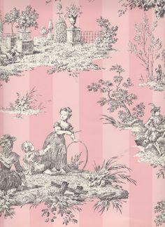 Pink Toile Wastebasket ~ Trashcan ~ Trash Holder ~ Trash Basket ~ French Vintage Toile Print - Home Style Corner Pink Toile Wallpaper, Pattern Wallpaper, Shabby Chic Bedrooms, Bedroom Vintage, Trendy Bedroom, Vintage Pink, French Vintage, Vintage Ideas, Blanc Shabby Chic