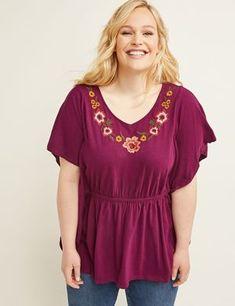 Embroidered V-Neck Top | Lane Bryant Best Plus Size Clothing, Plus Size Outfits, Plus Size Blouses, Plus Size Tops, Kelly S, Short Kimono, New Wardrobe, Wardrobe Ideas, Clothing Deals