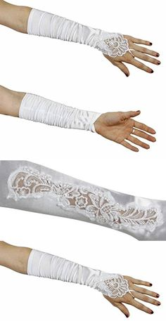 Grace Fingerless Long Gathered and Beaded Gloves, White