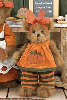 """Bearington Bears """"Prissy Pumpkin"""" 10"""" Plush Bear- Sku#179868 - NWT- 2009"""