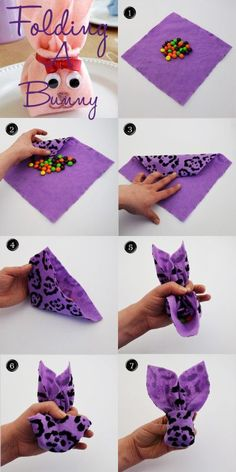 How to fold a napkin or felt bunny. Great easter idea to hold loose easter candy or spring party favors.