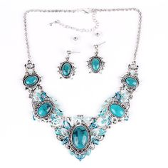 PN12518 New Arrival Jewelry Set Antique Silver Plated Blue Resin Beads Quality Chocker Collar Party Gifts Free Shipping US $10.99