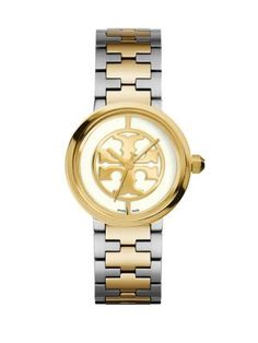 TORY BURCH Reva Two-Tone Stainless Steel Bracelet Watch. #toryburch #watch