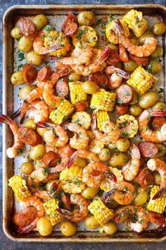 Shrimp Recipes 92818 Sheet Pan Shrimp Boil - Easiest shrimp boil ever! And it's mess-free using a single sheet pan. ONE PAN. No newspapers. No bags. No clean-up! Seafood Boil Recipes, Seafood Dishes, Shrimp Recipes, Gourmet Recipes, Dinner Recipes, Cooking Recipes, Healthy Recipes, Seafood Pasta, Dinner Ideas