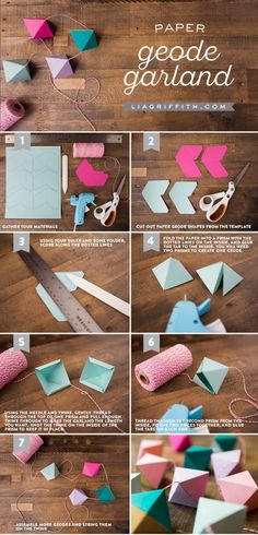 Diy Paper Geode Garland - What's an article about paper crafts without a cool paper garland in the list? Actually, the prettiest garlands you can find are made out of paper and that is why you should try making this paper geode garland. Cute Crafts, Diy And Crafts, Crafts For Kids, Diy Paper Crafts, Easy Crafts With Paper, Paper Crafting, Color Paper Crafts, Decor Crafts, Craft Tutorials